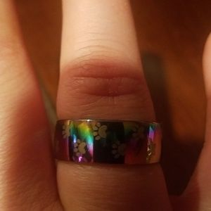 New stainless steel paw rainbow ring